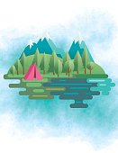 Flat Design Landscape Of Mountains And Trees with a tent.