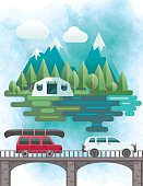 Flat Design Landscape Of Mountains And Trees Cars Travelling To Their vacation Destinations.