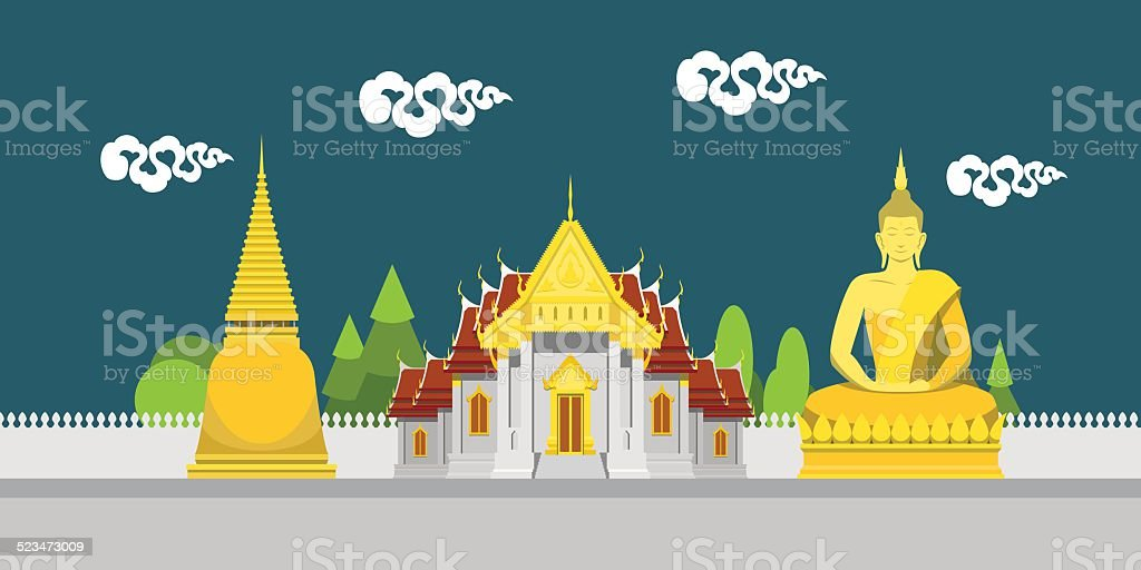 Flat design landscape of Thailand temple vector art illustration