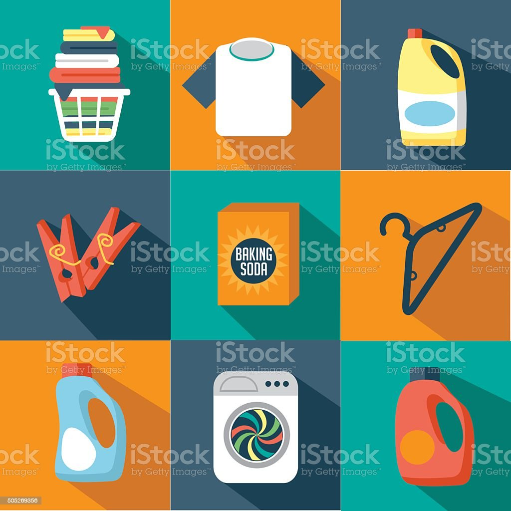 Flat design laundry icon collection vector art illustration