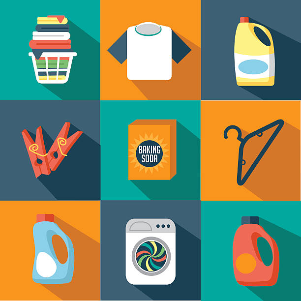 flat design laundry icon collection - bleach stock illustrations