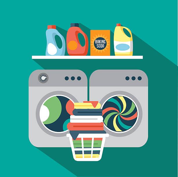 flache design-wäscherei - waschmaschine stock-grafiken, -clipart, -cartoons und -symbole