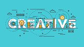 Flat design line concept -Creative