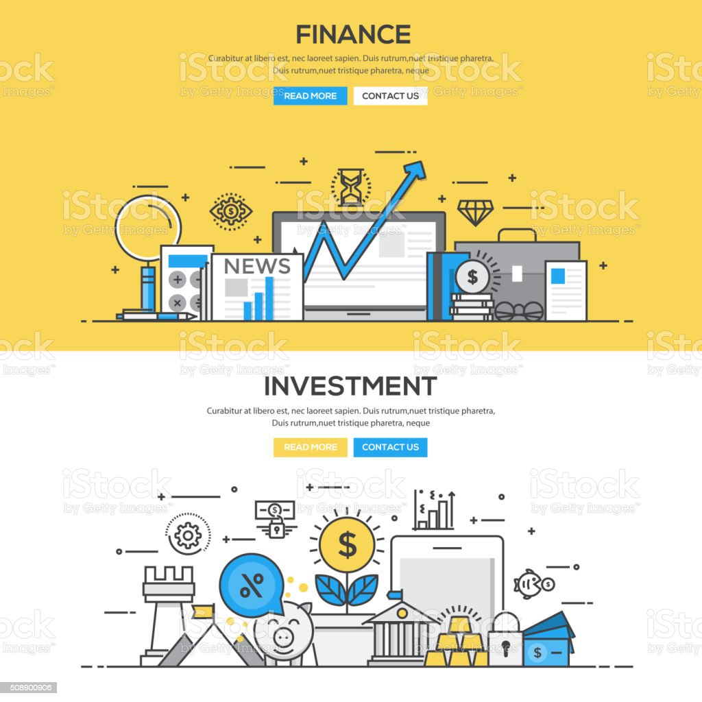 Flat design line concept - Investment and Finance vector art illustration