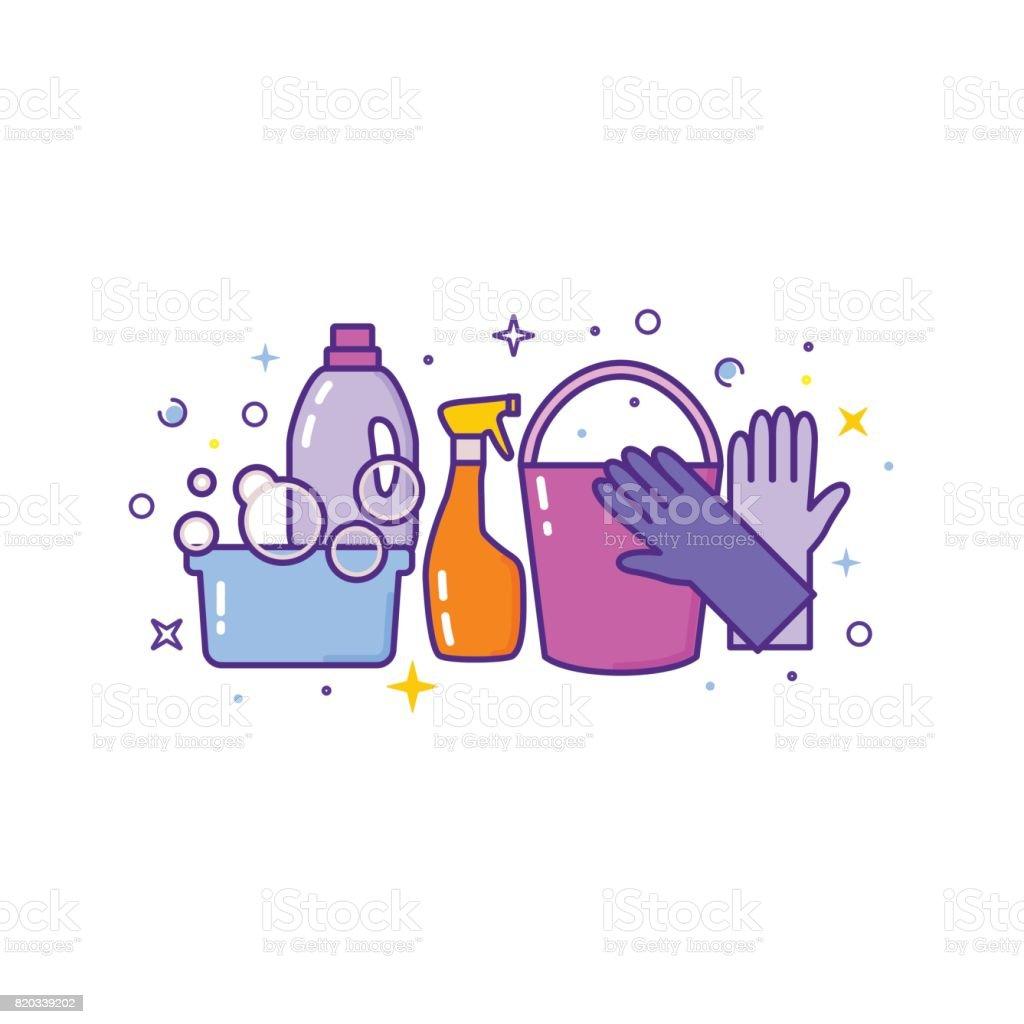 Flaches Design Logo für Reinigungs-Service, isoliert auf weiss – Vektorgrafik
