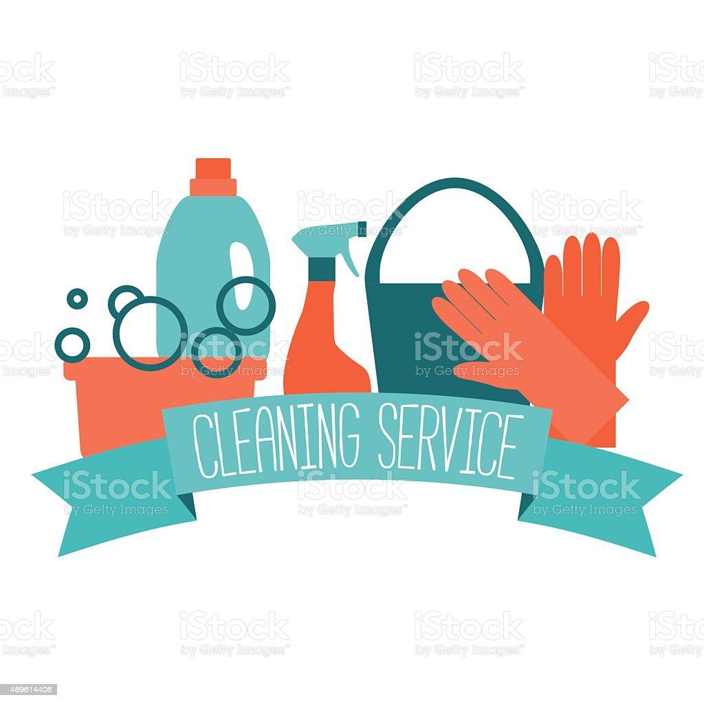 Flat design logo for cleaning service. vector art illustration