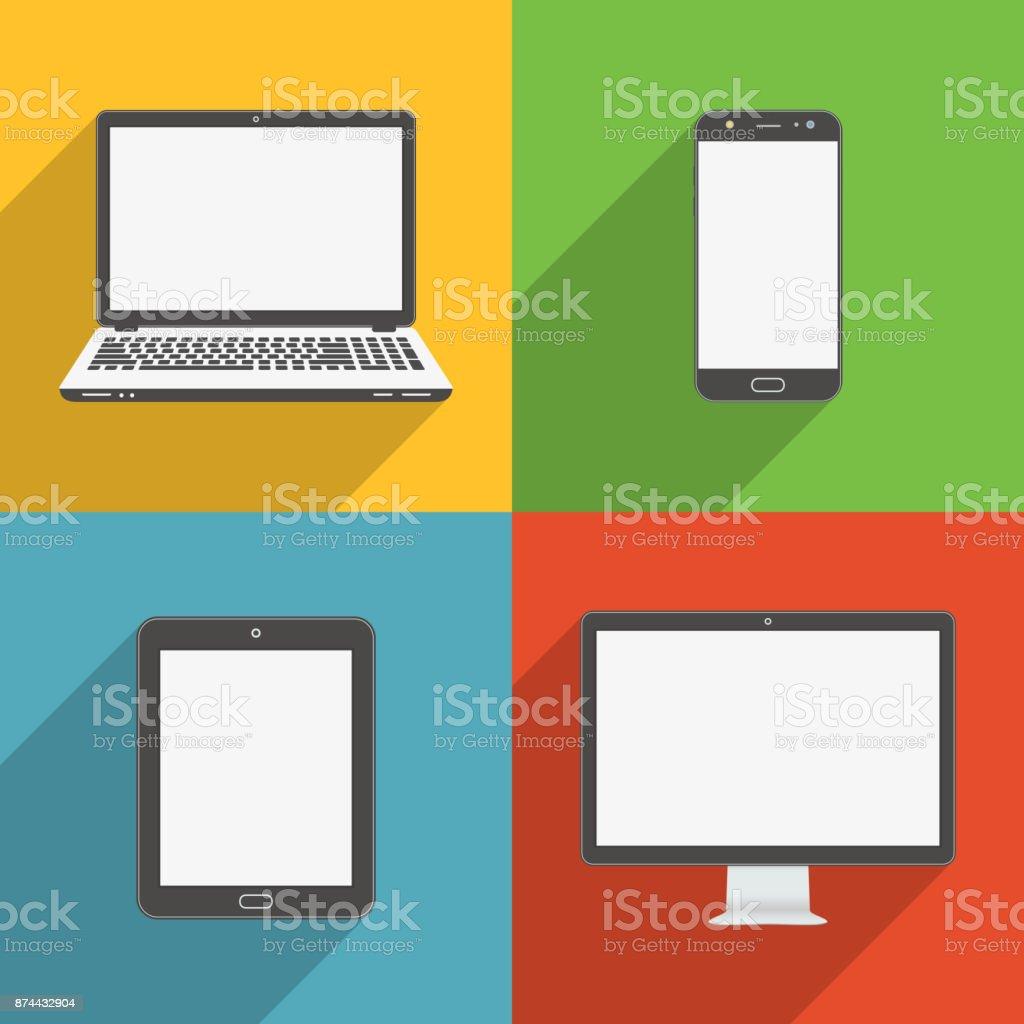 Flaches Design lange Schatten Stil moderne Vektor Icon Set von Gadgets und Geräte – Vektorgrafik