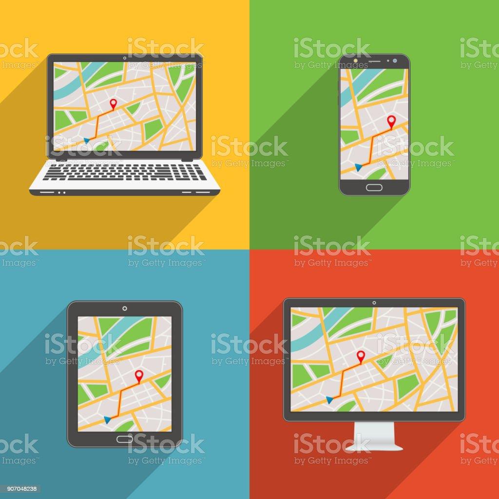 Flaches Design lange Schatten Stil moderne Vektor Icon Set von Gadgets und Geräte mit GPS-Karte – Vektorgrafik