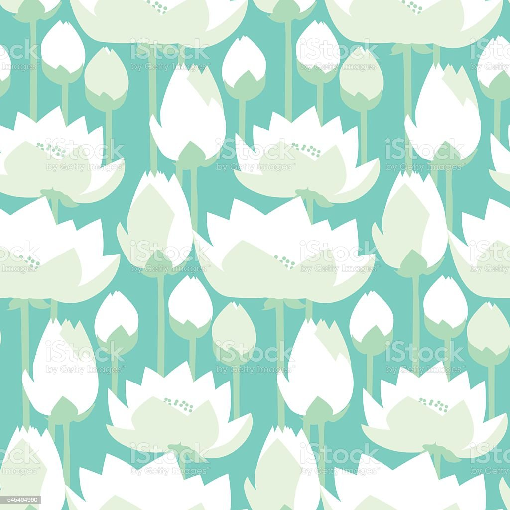 flat design lotus lilies decrataive seamless pattern. v vector art illustration