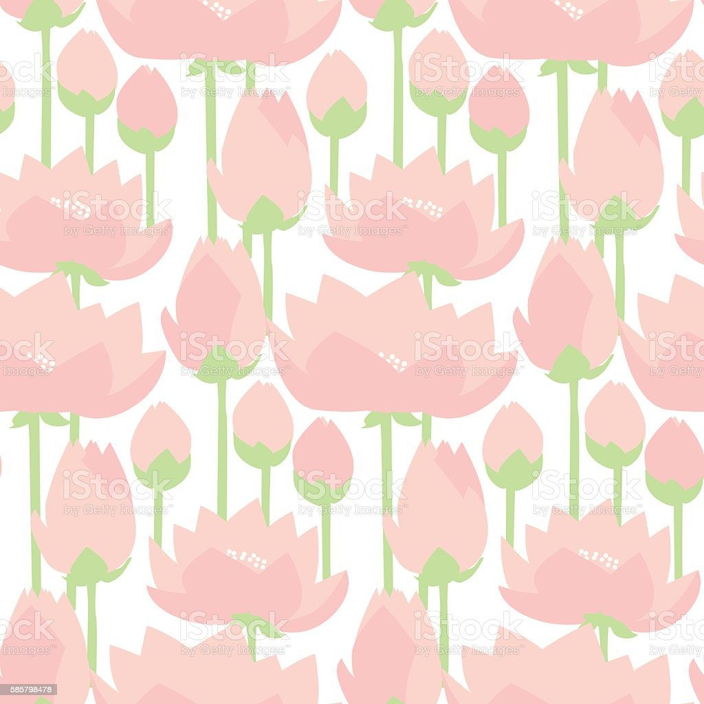 flat design lotus lilies decrataive seamless pattern. vector ill vector art illustration