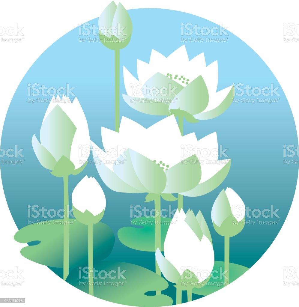 flat design lotus lilies decrataive seamless pattern. vector illlustration vector art illustration