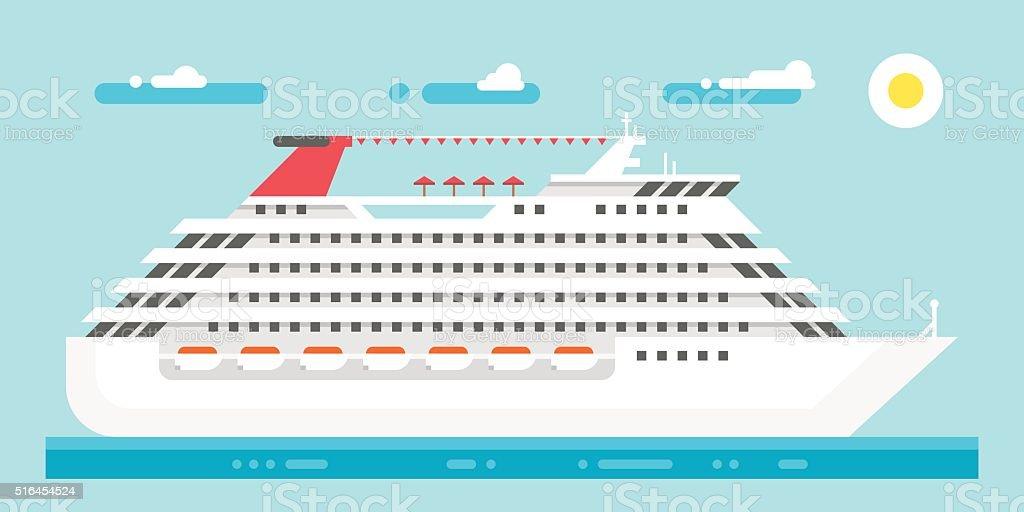 Flat design luxury cruise vector art illustration