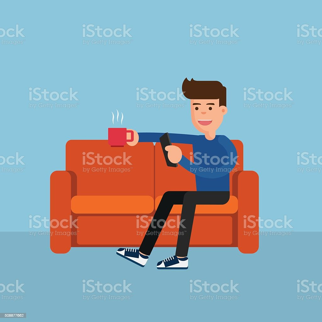 Flat design. Man on sofa relax online activity. vector art illustration