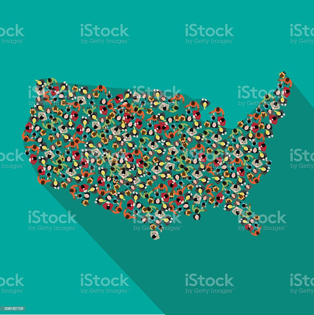 Flat design map of the United States vector art illustration