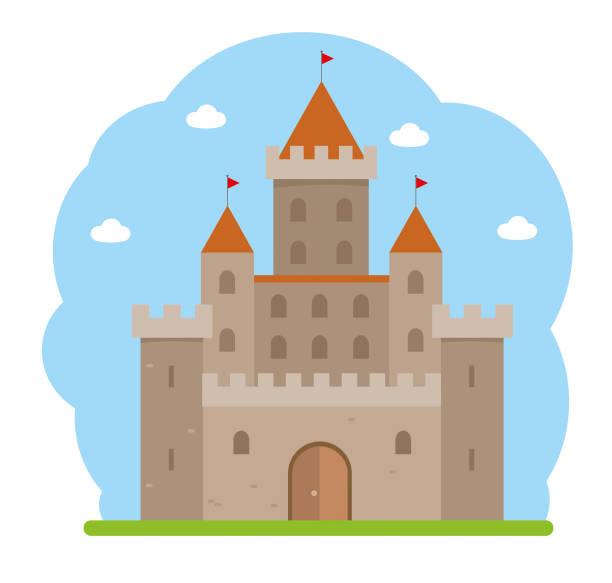 Flat design medieval castle castle castle stock illustrations