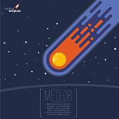 Flame meteorite icon. Flat design cartoon vector template.