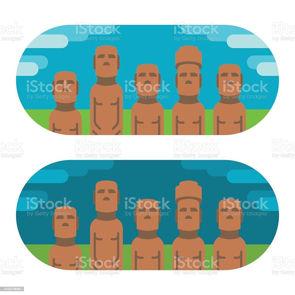 Flat design moai easter vector art illustration