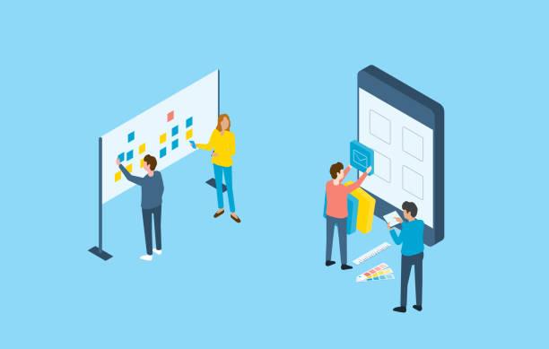 Flat Design mobile Anwendungs- und Webdesign-Entwicklungsprozesskonzept und Gruppenbusiness-Team arbeiten – Vektorgrafik