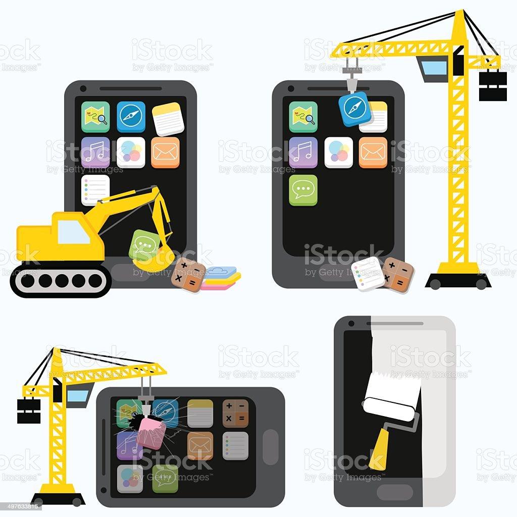 flat design - mobile application development concept royalty-free stock vector art