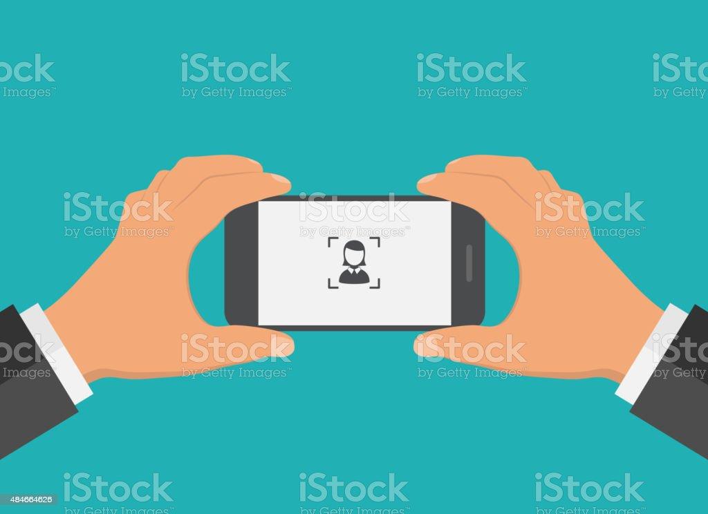 Flat design mobile phone foto concept. vector art illustration