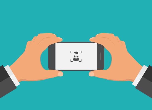 ilustraciones, imágenes clip art, dibujos animados e iconos de stock de diseño plano teléfono móvil foto concepto. - zoom call