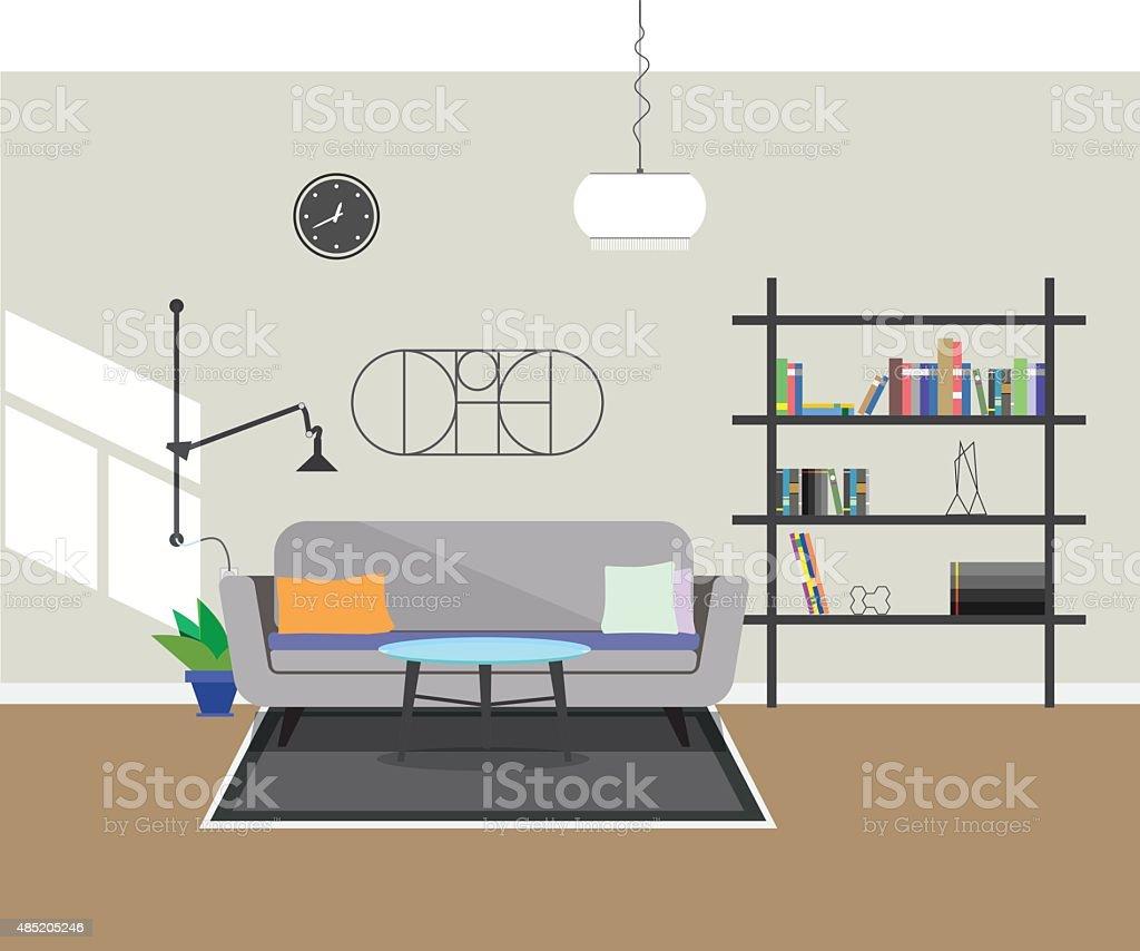 Flat Design Modern Interior Living Room Stock Vector Art