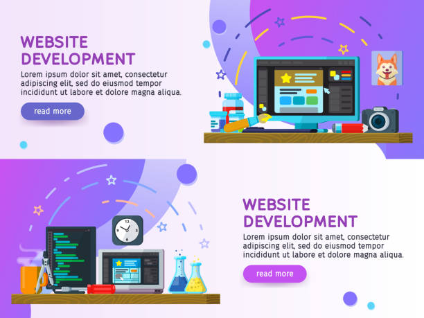 Flat design modern vector illustration concept. Business process Set of flat color banners design. Website development, Web design. Modern flat design 2018. Website Elements. Vector illustration vector art illustration