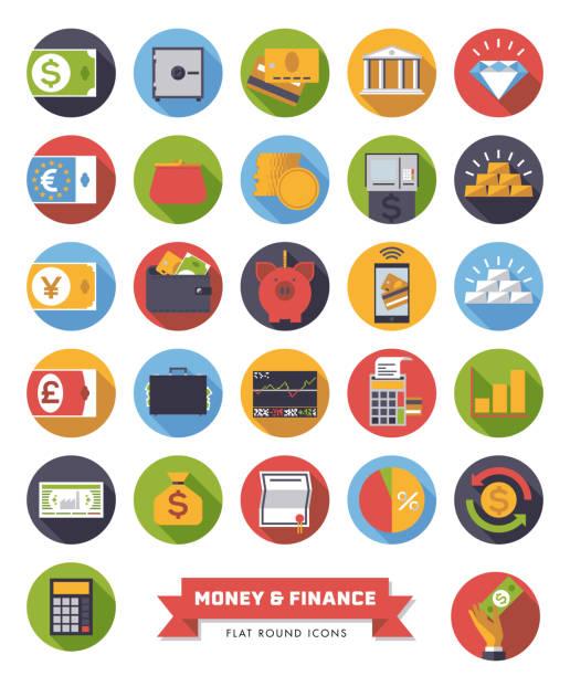 stockillustraties, clipart, cartoons en iconen met platte ontwerp geld en financiën iconen - aandelen