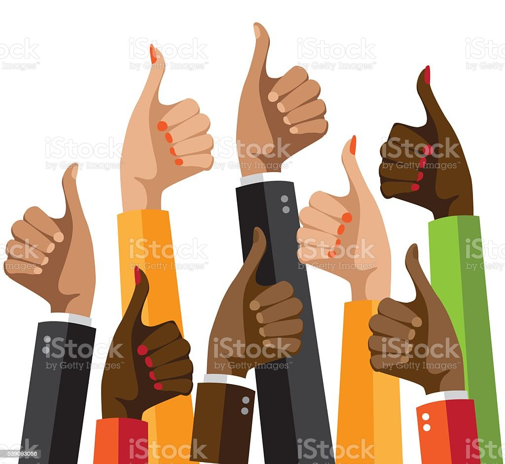 Flat design multicultural group thumbs up. vector art illustration