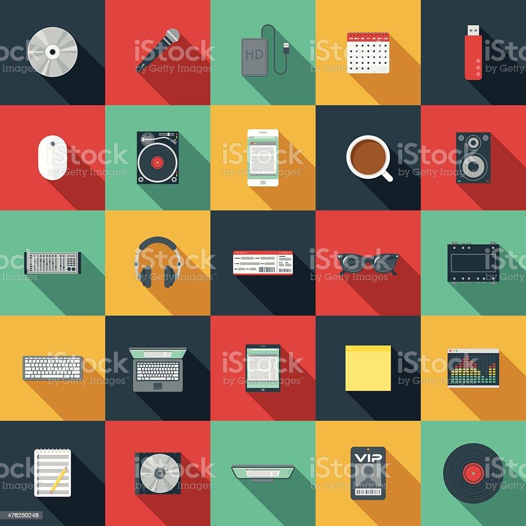 Flat Design Music Elements Icon Set