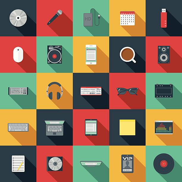 ilustrações, clipart, desenhos animados e ícones de música plana ícone conjunto de elementos de design - cd