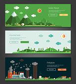 Flat design natural and ecological landscapes banners set