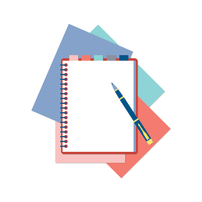 Flat design notepad, pen and color sheets of paper