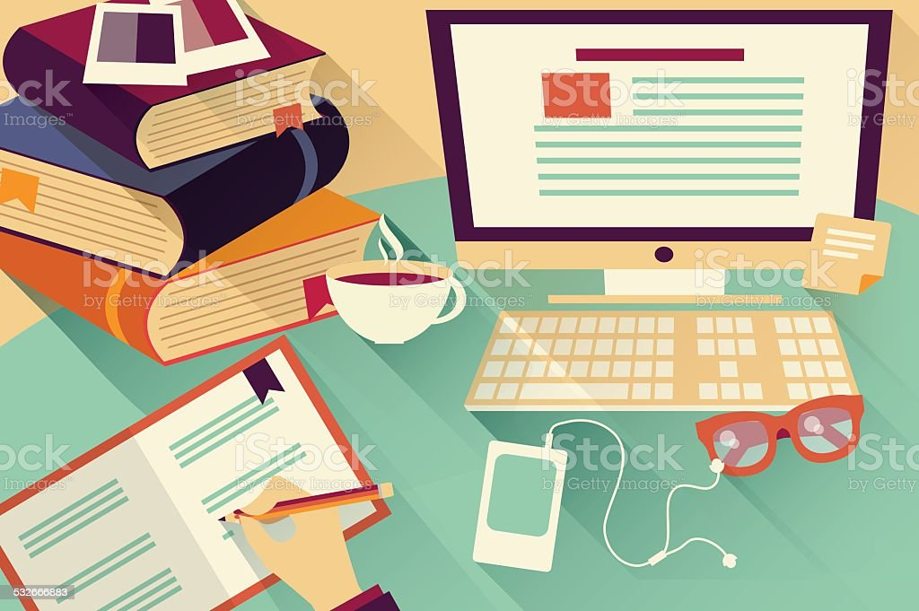 flat design objects work desk office desk books computer and stationery stock vector art  u0026 more