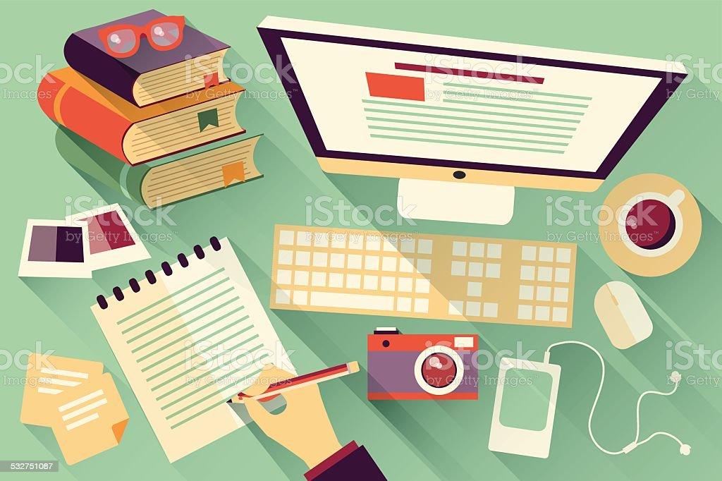 Flat design objects, work desk, office desk, computer and stationery vector art illustration