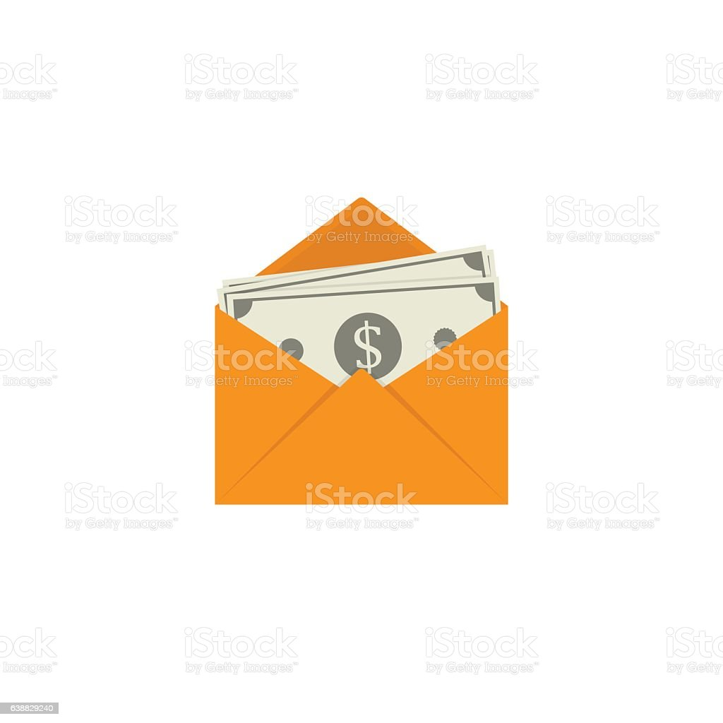 Flat Design of Banknote in Yellow Envelope vector art illustration