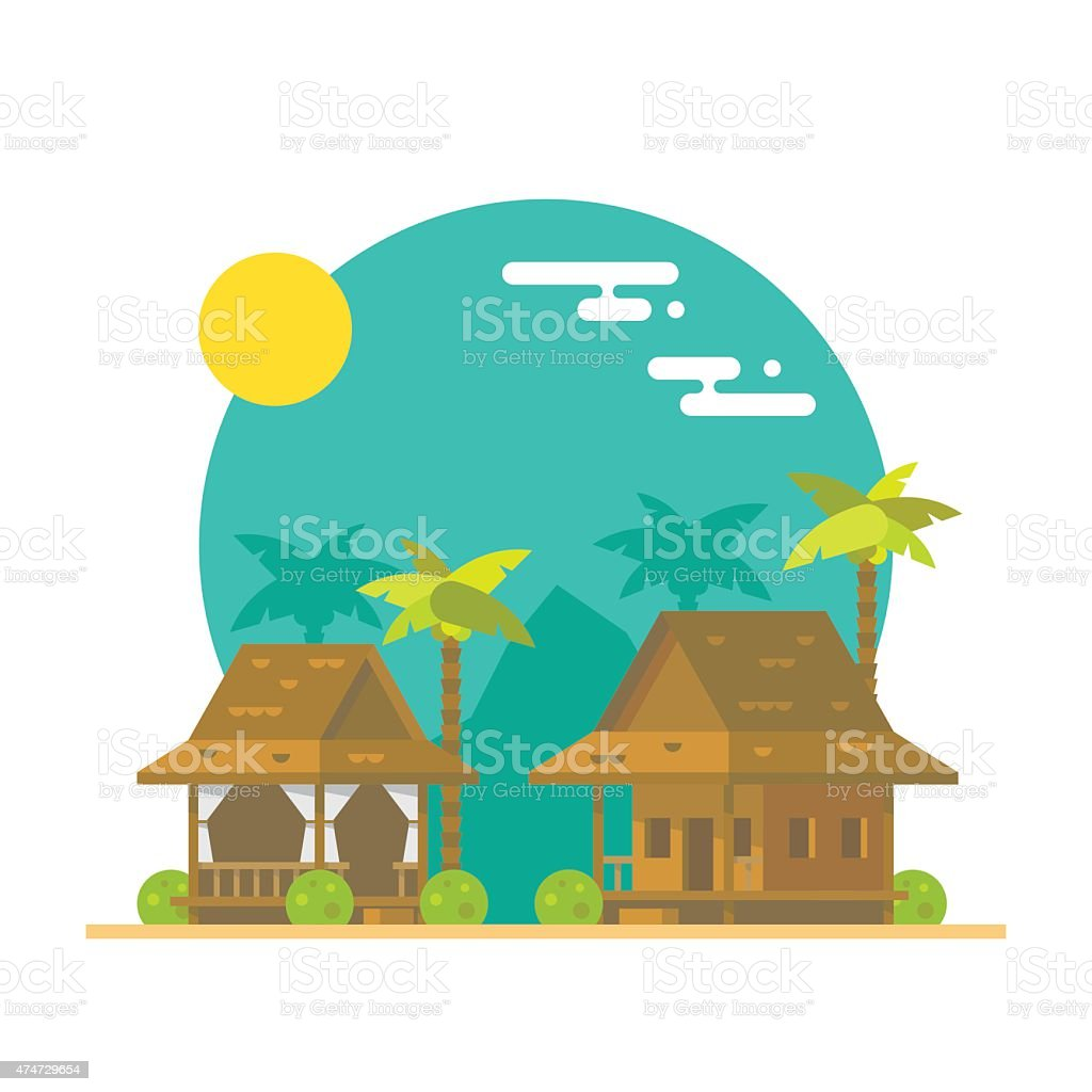Flat design of beach bungalows vector art illustration