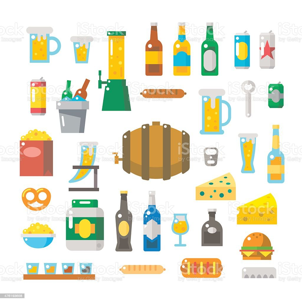 Flat design of beer items set vector art illustration