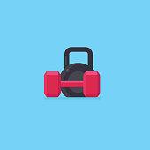 Black kettlebell and red dumbbell