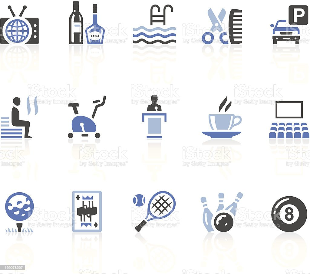 Flat design of blue and black icons for Hotel facilities vector art illustration