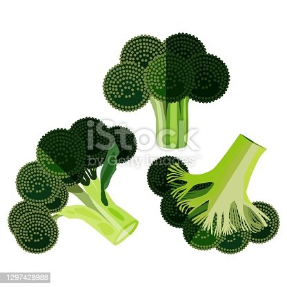 istock Flat design of broccoli. Fresh organic and healthy, diet and vegetarian food. Vector illustrations isolated on white background. 1297428988