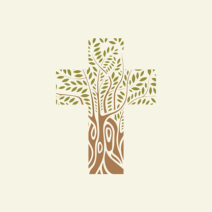 Flat design of Christian cross in the form of tree
