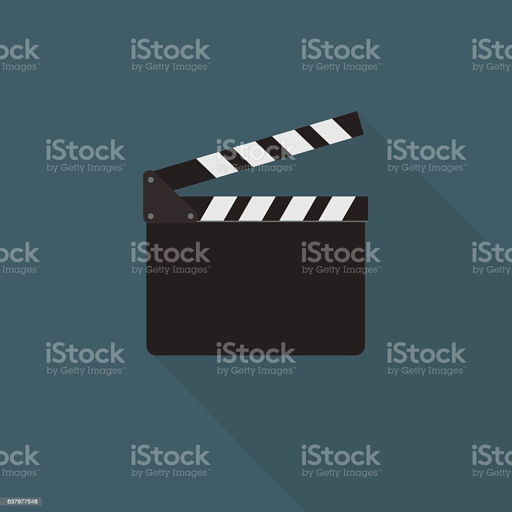 Flat Design Of Clapper Board Illustration vector art illustration