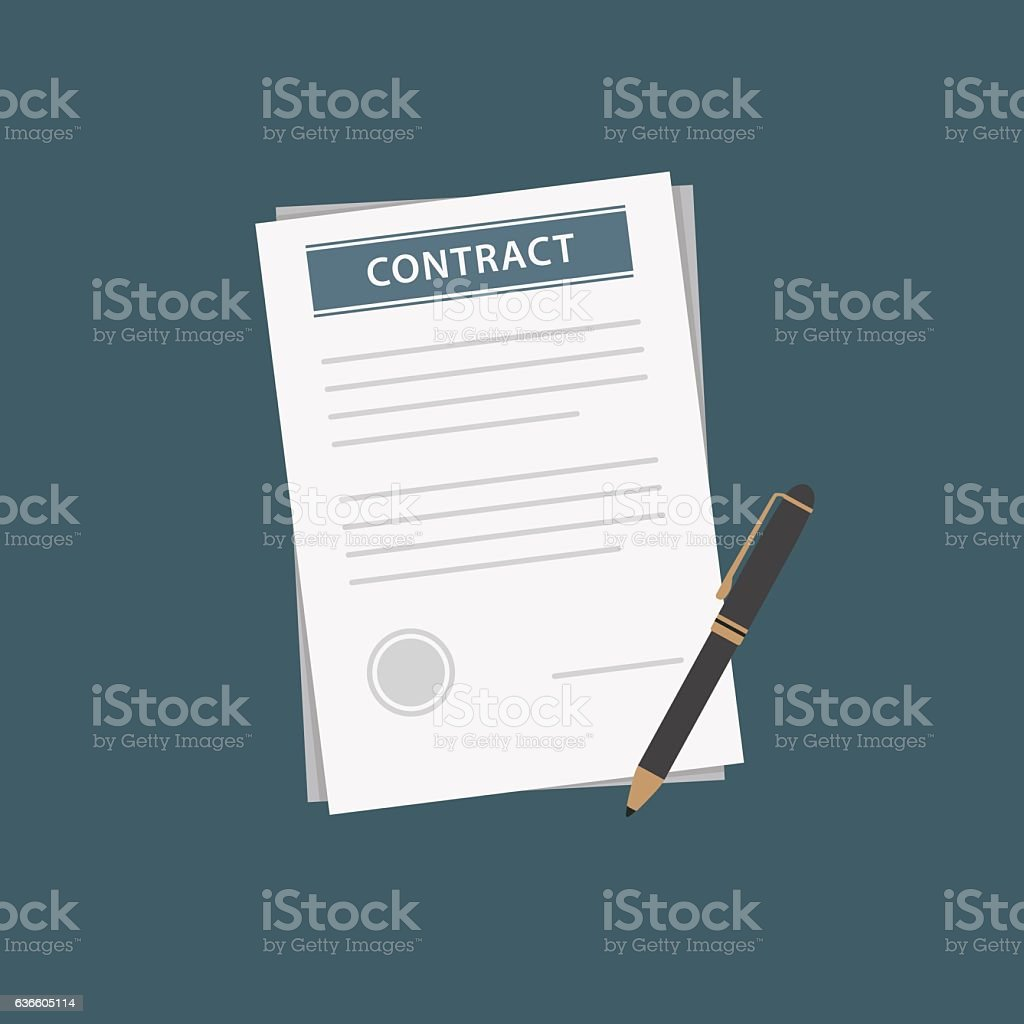 Flat Design of Contract Document and Black Pen vector art illustration