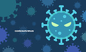 Flat design of Coronavirus COVID-19 on blue tone. Dark blue background with blue tone virus cells. Wuhan virus disease. Danger symbol vector illustration.