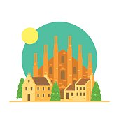 Flat design of Duomo di Milano Italy with village