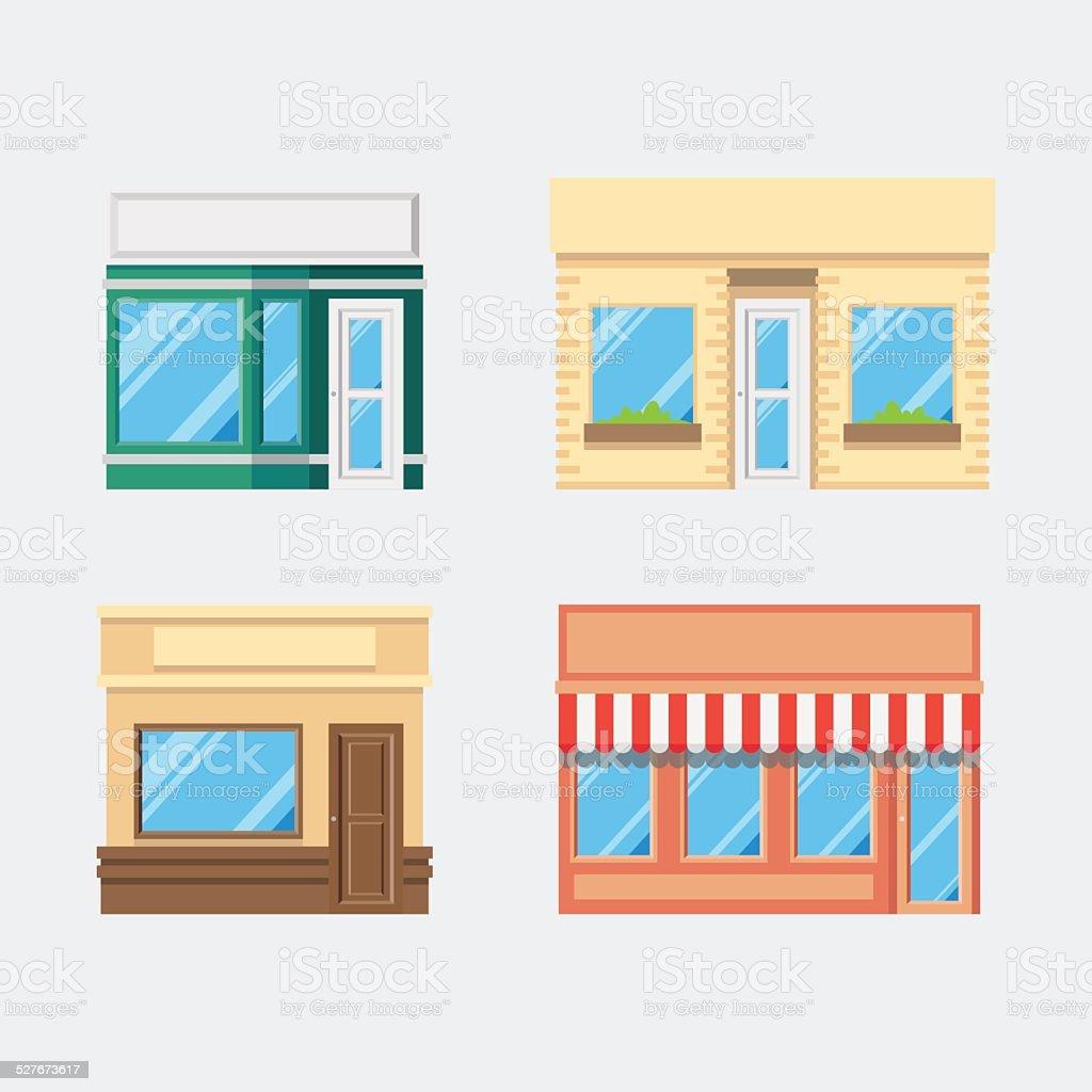 Flat design of front shop set vector art illustration