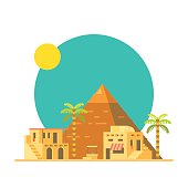 Flat design of Great pyramid of Giza in Egypt