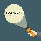 istock Flat Design Of Hand Holding FlashLight And Projection Light Beam 624473232