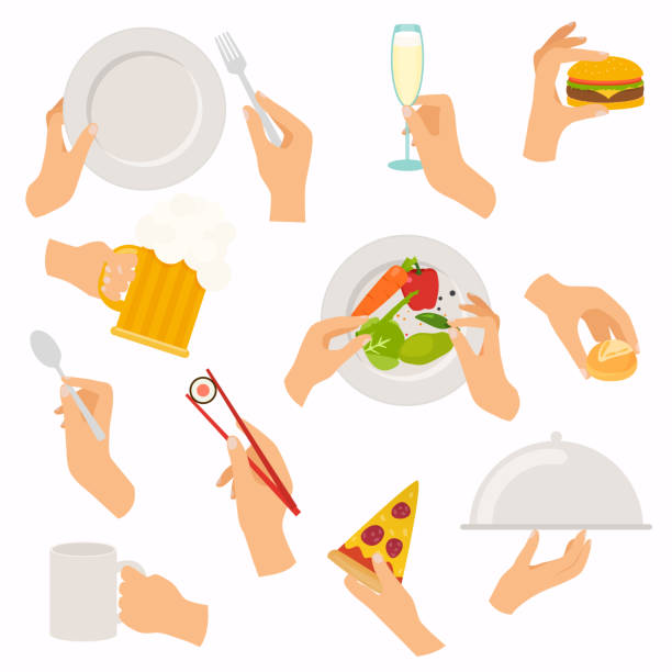 flat design of hand icons set. concept of hand hands hold different food and drink: beer, burger, bread, sushi, glass, salad, plate. vector illustration. - sushi stock illustrations